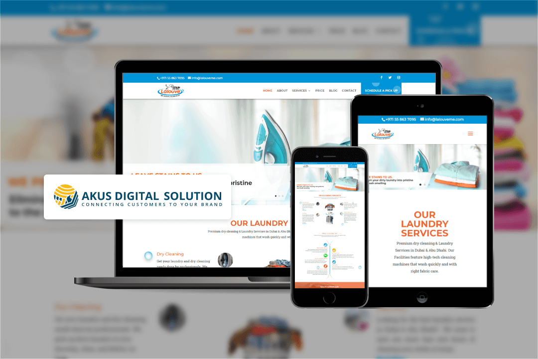 Laundry services website design mockups