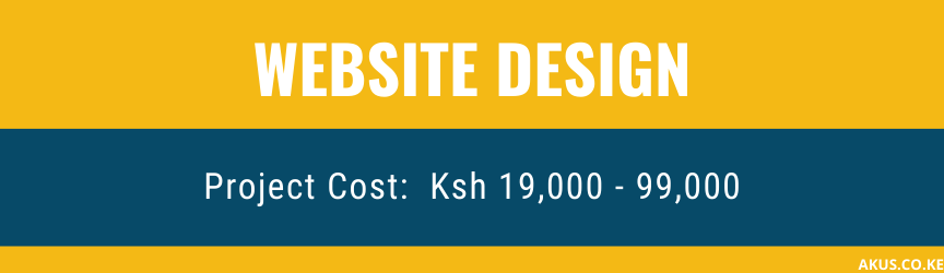 A graphic showing website design prices in Kenya By Akus Digital Solution