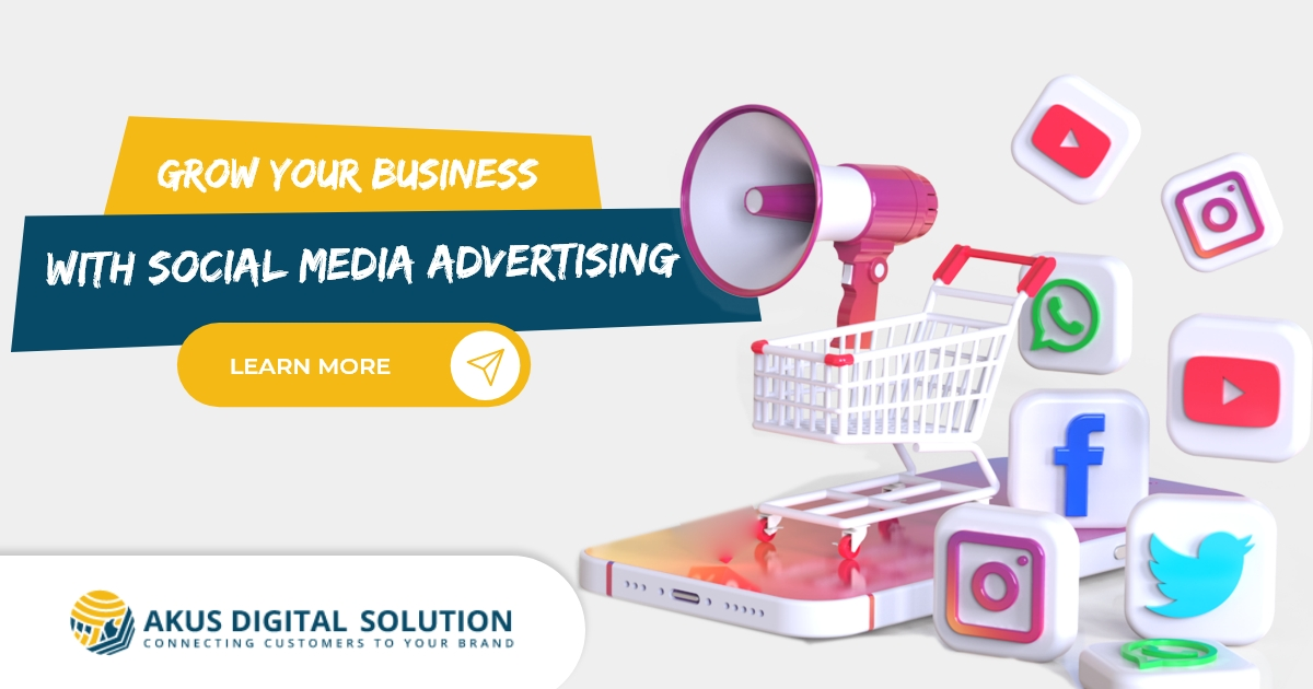 An image showing social media advertising services by Akus Digital Solution